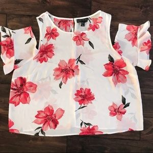 Forever 21 floral chiffon cold shoulder top 3x